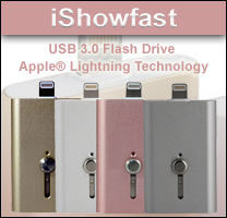 iShowfast USB 3.0 Flash Drive with Apple® Lightning for data storage solution.